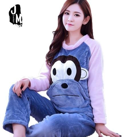 Cute Print Cartoon Monkey Bear Pajamas Sets Woman Warm Pajamas Thicken  Flannel Sleepwear Winter Long Sleeve 3861ba9cd