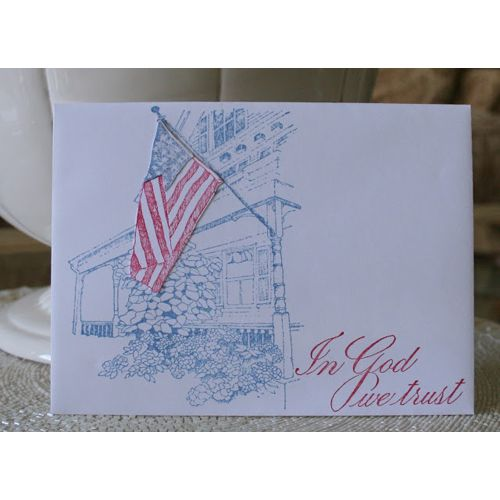 Serendipity Stamps Porch Flag and In god We Trust stamps - Envelope art!