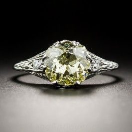 Fancy Intense Yellow 2.02 Carat Cushion-Cut Diamond Art Deco Solitaire - Vintage Engagement Rings