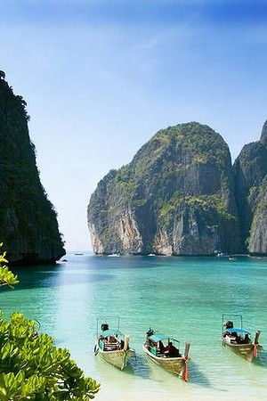 Maya Bay, Krabi, Thailand. Krabi lies just a 45-minute boat ride across the Andaman Sea from Phuket. But you can spare yourself the trip to Phuket — plenty of riches lie here, and you don't have to fight the crowds to enjoy them. Krabi sits next to the Mu Koh Lanta National Park, a prime spot for hiking, rock climbing and elephant trekking. www.thailandlifestyleproperties.com