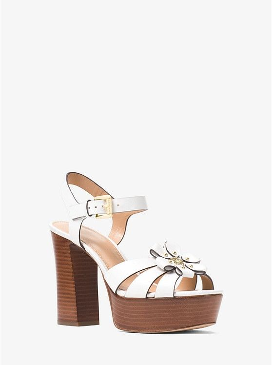 4faaccf32 MICHAEL MICHAEL KORS Tara Floral Embellished Leather Platform Sandal in  White. Also in Deep Pink, Admiral Blue, Acorn, and Green! #MichaelKors