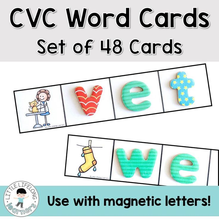 CVC Word Cards for Letters Cvc words,