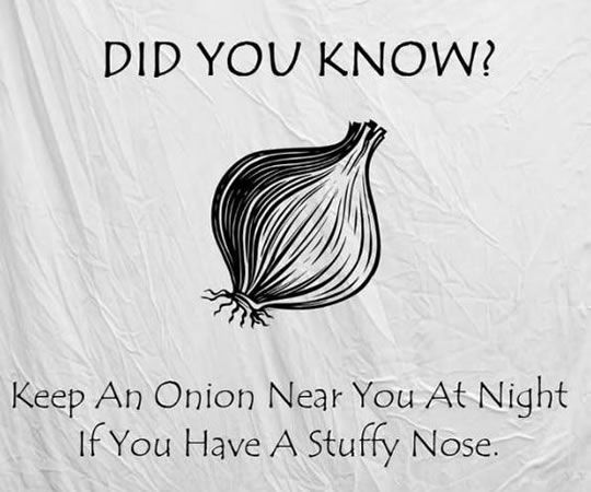 tips: put an onion near you at night if you have stuffy nose.