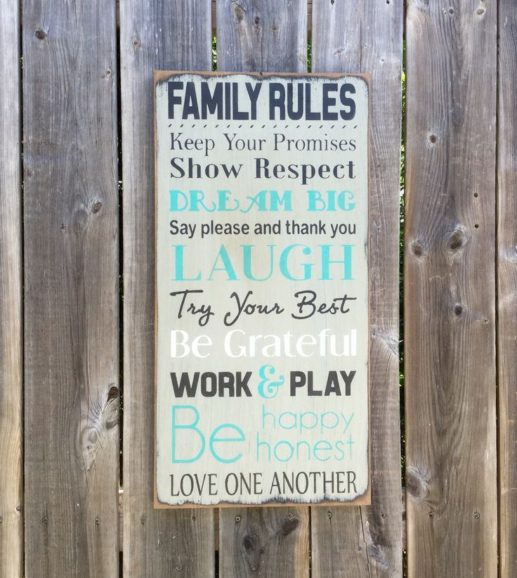 FAMILY RULES, made by The Primitive Shed, St. Catharines, ON