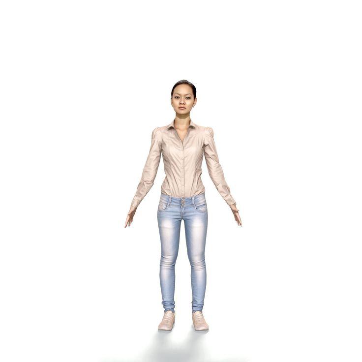 3D max casual virtual woman