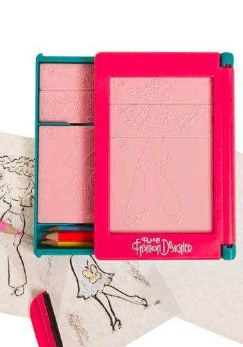 Fashion plates were one of my favorite toys growing up. Here's a similar product that's travel sized! Next Betsey Fashion Designer