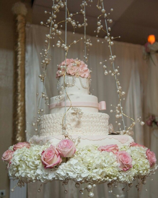 The Mulley Experience: suspended blush, cream and gold wedding cake! St. Croix, USVI