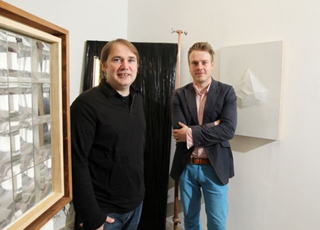 Pictured at Golden Thread Gallery is: Peter Richards, Director, Golden Thread Gallery and Arts Council's ACES recipient, visual artist, Keith Winter who exhibited in the Arts Chiyoda 3331 Gallery, Japan in November 2011.