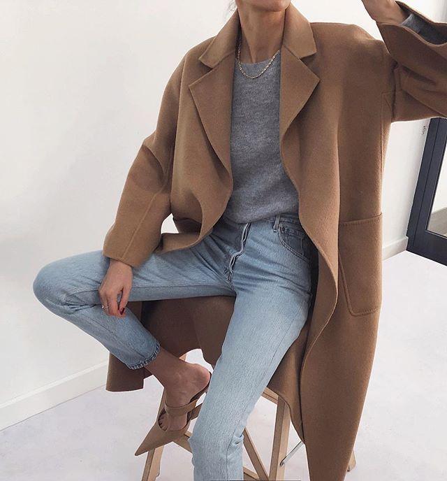beige coat, jeans, nude high heels