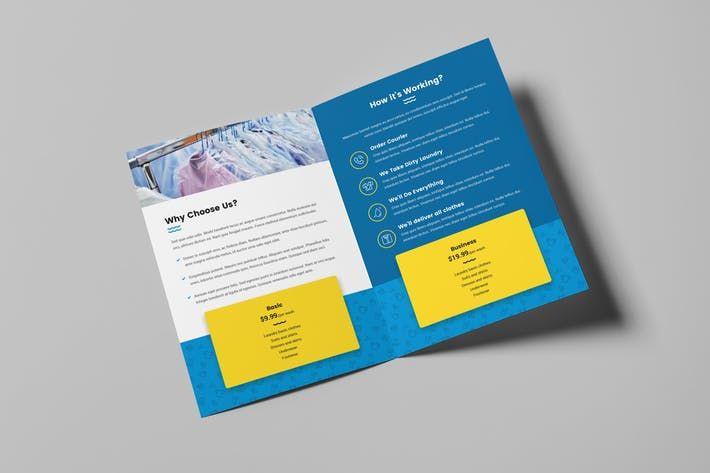 Brochure Laundry Bi Fold By Artbart On Envato Elements Brochure Envato Fold