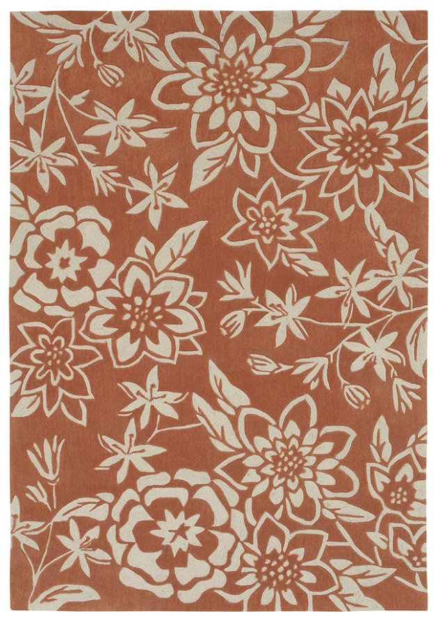 Large scale floral pattern in soft orange