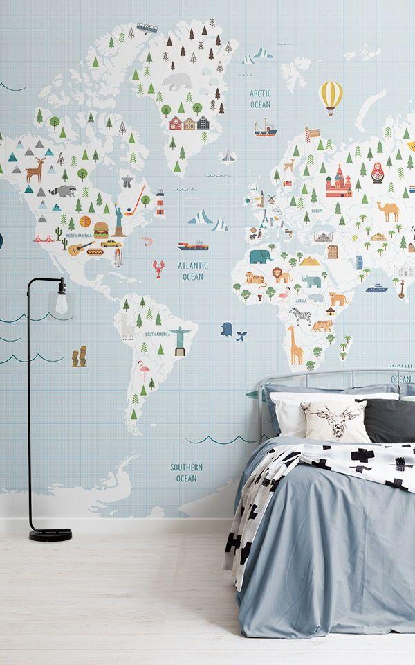 Graph Paper Wallpaper Blue World Map Mural Muralswallpaper