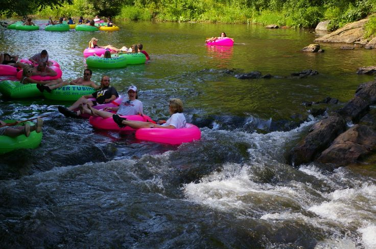 Looks like they're having a great time! Tubing in Helen, Ga.