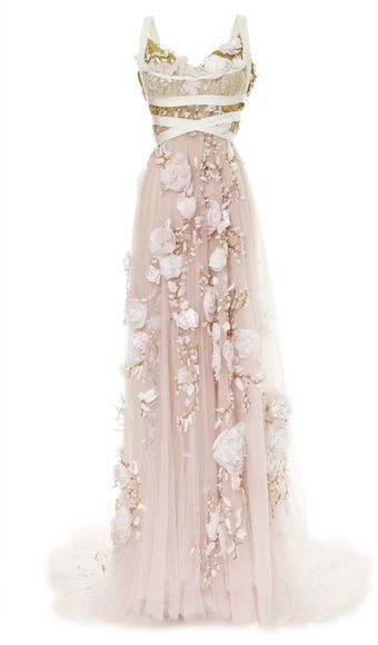 Marchesa 3d Silk Ribbon Rose Empire Waist Gown - Lyst... So beautiful!!!