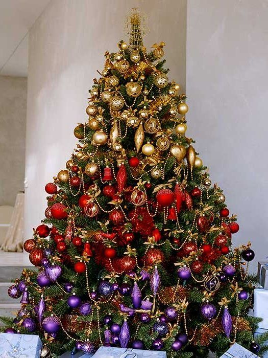 Red and Purple Golden Christmas Tree