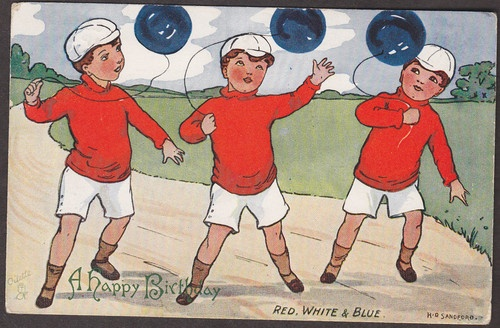 X5205 Sandford Postcard Red White and Blue Balloons and Boys Tuck 9102 | eBay