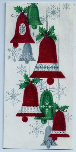 VINTAGE CHRISTMAS CARD BY UNKNOWN MAKER USED BELLS HAVE FELT