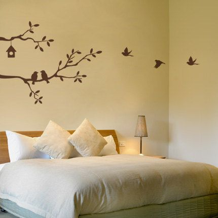 tree branch bird house birds home kitchen Art Decals large size Wall Sticker Vinyl Wall Decal stickers living bed baby room 605. $35.50, via Etsy.
