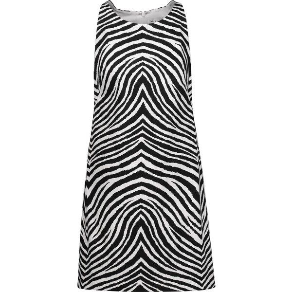 MILLY  Printed stretch-cotton mini dress (22680 RSD) ❤ liked on Polyvore featuring dresses, white and black dress, black white dress, zebra dresses, black and white zebra print dress and mini dress