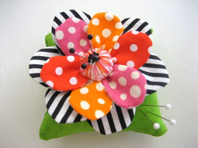 What a Fabulous combo of dots and the black and white stripe for this pincushion. She has more at her flickr page -Scrappy Pincushion #1 by mamacjt, via Flickr