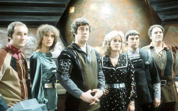 Blakes 7, from left to right: Vila (Michael Keating), Cally (Jan Chappell), Roj Blake (Gareth Thomas), Jenn (Sally Knyvette), Avon (Paul Darrow), Gan (David Jackson). The BBC sci-fi series ran from 1978-1981.