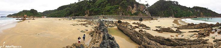 Panoramic view of both Aguilar and Campofrio beach in Asturias, Spain