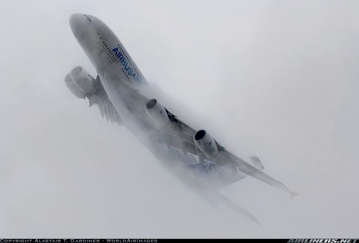 The A380 emerging from the clouds during its display at MAKS 2013.