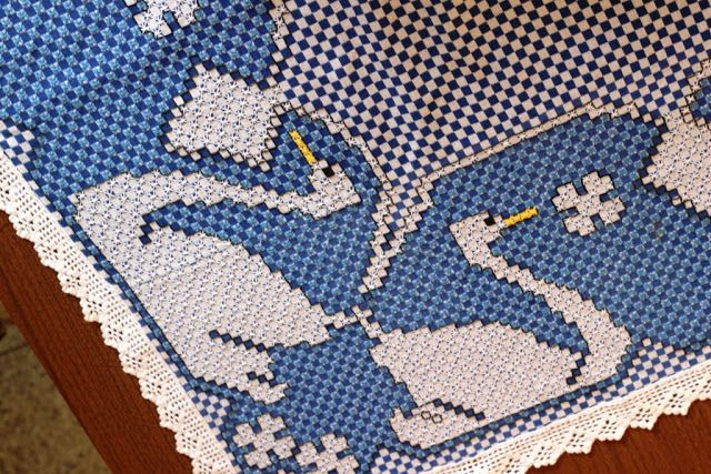 Vó Donazinha: bordado/tecido xadrez