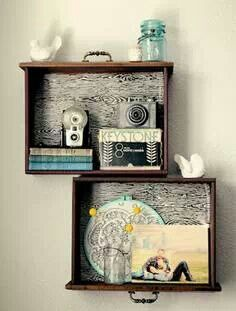 Drawer shelves for the odd objects. Great idea, especially with the paper added to bottom of drawer.
