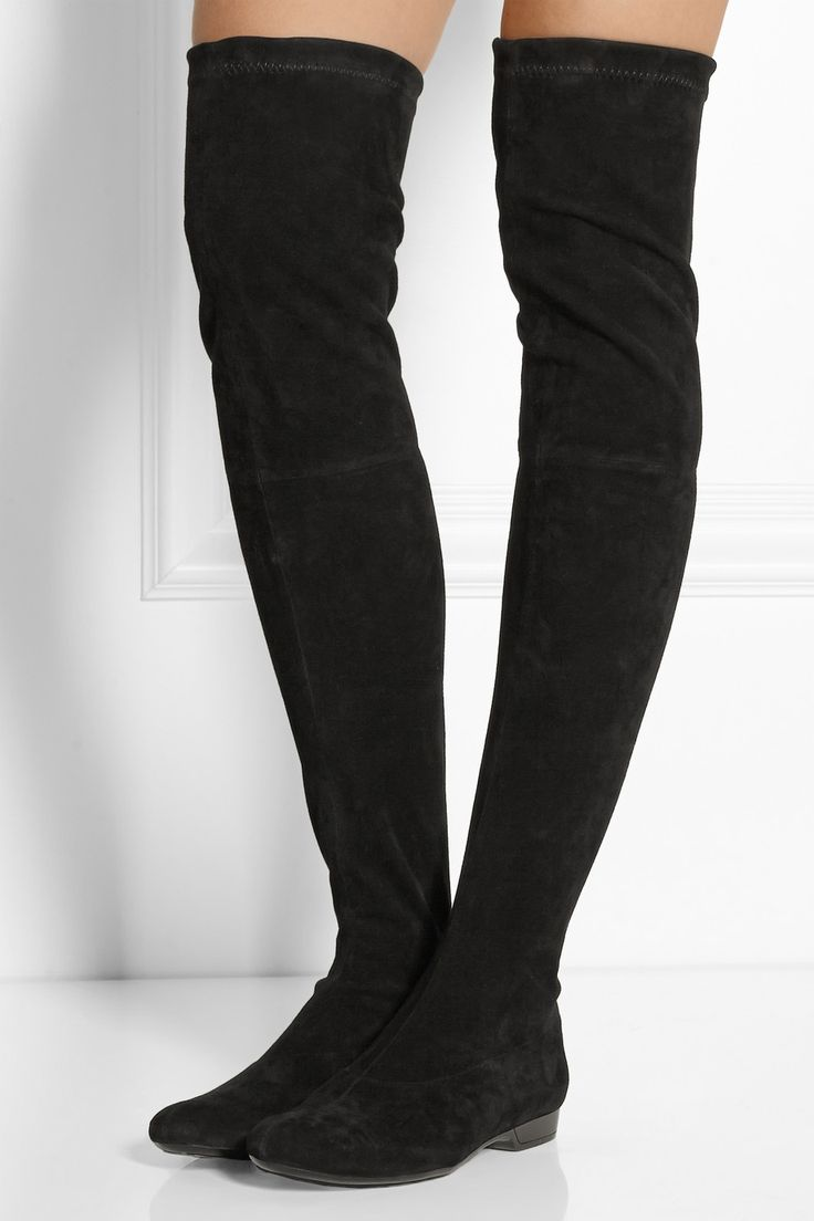 Black Stretch Over The Knee Boots - Boot Hto