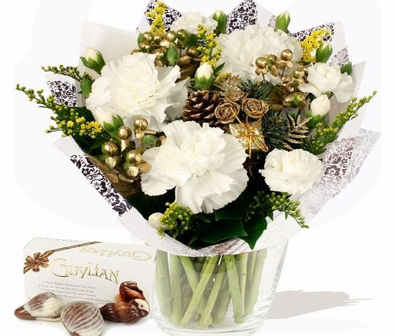 Eden4flowers.co.uk Eden4flowers Christmas Flowers Delivered - Simply Christmas White with Chocolates Our florists simple bouquet of cheerful Christmas flowers with chocolate seashells. This arranged bunch includes white Carnations, white Spray Carnations, golden Solidago flower and gold dipped Hyper http://www.comparestoreprices.co.uk/flowers-and-flower-delivery/eden4flowers-co-uk-eden4flowers-christmas-flowers-delivered--simply-christmas-white-with-chocolates.asp