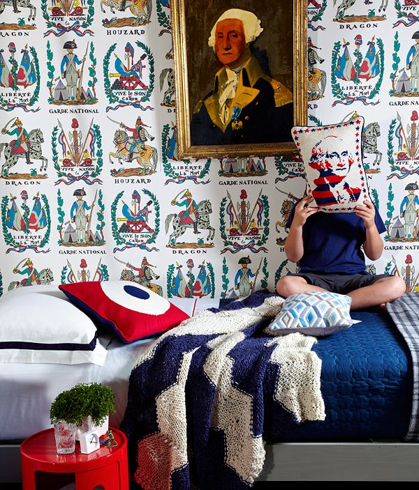 boy's rooms, patriotic, Brunschwig & Fils' Battle of Valmy 1792 wallpaper