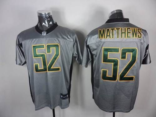 Packers #52 Clay Matthews Grey Shadow Stitched NFL Jersey authentic jersey