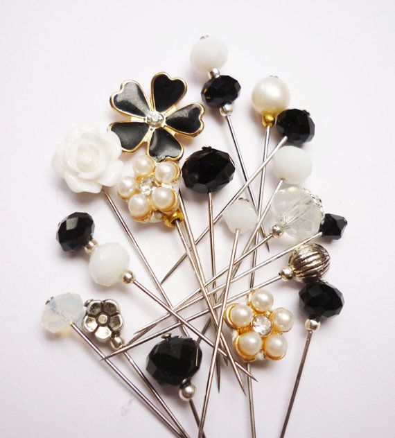 18 Monochrome Mini Pin Mix  Sewing Pin / Hijab Pins by RubinaKadir, £12.50 #hijab