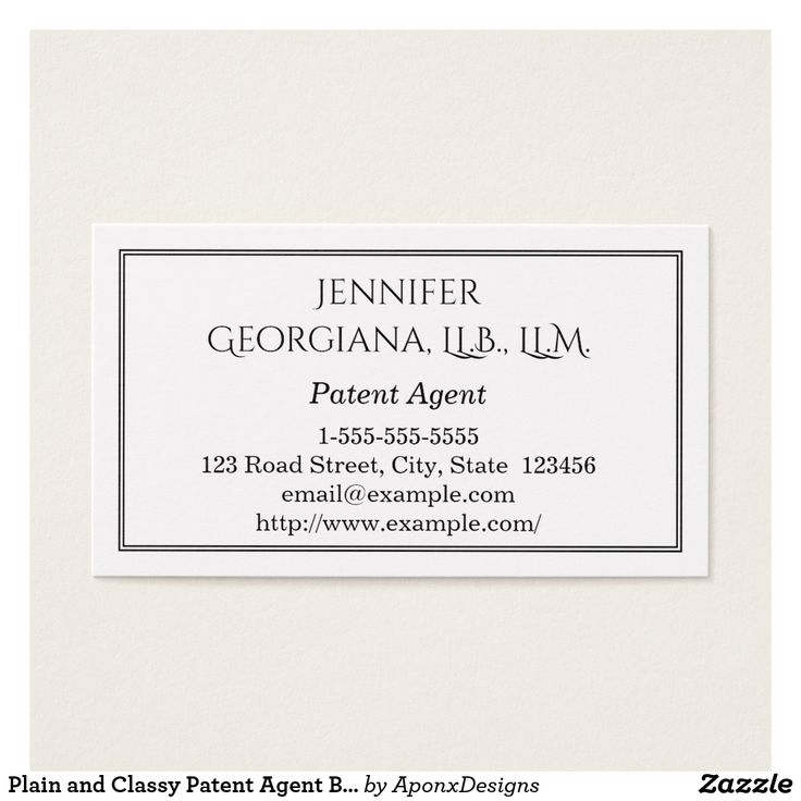 Plain and Classy Patent Agent Business Card