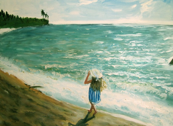 "Artist: Zipolita aka Tina Winterlik  Title: Beachwalker  Media: Oil on Canvas  Size: 16"" x 20""  Price: $300"