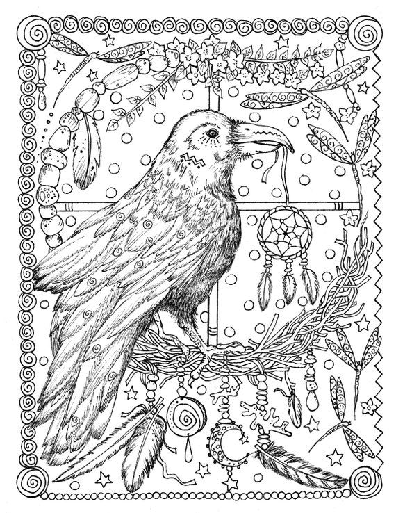 5 Pages Instant Download Animal Spirits To Color Wolf Raven Crow