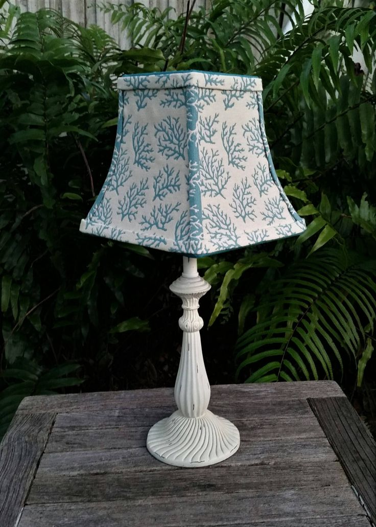 Beach Lampshade, Ivory, Aqua, Coral, Bell Frame, Clip On, Custom, Handmade, Vero Beach, Tropical Decor. Table Lamp, Sapphire Ribbon, Coastal by VeroLampshades on Etsy