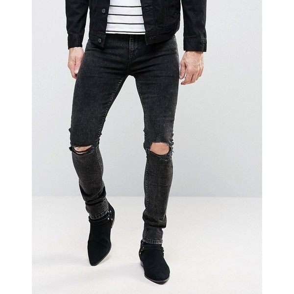 ASOS Super Skinny Jeans With New Knee Rips In Washed Black ($31) ❤ liked on Polyvore featuring men's fashion, men's clothing, men's jeans, black, mens skinny fit jeans, mens torn jeans, mens tall jeans, mens super skinny ripped jeans and mens distressed jeans
