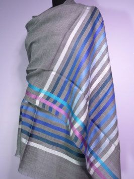 Delhi Stripe ~ Blue Stripes with Silver  (90% Wool & 10% Silk) available at silversari.com  - #silversari Help us to empower woman & children of the Dalit community in Rajasthan through education and skill development.