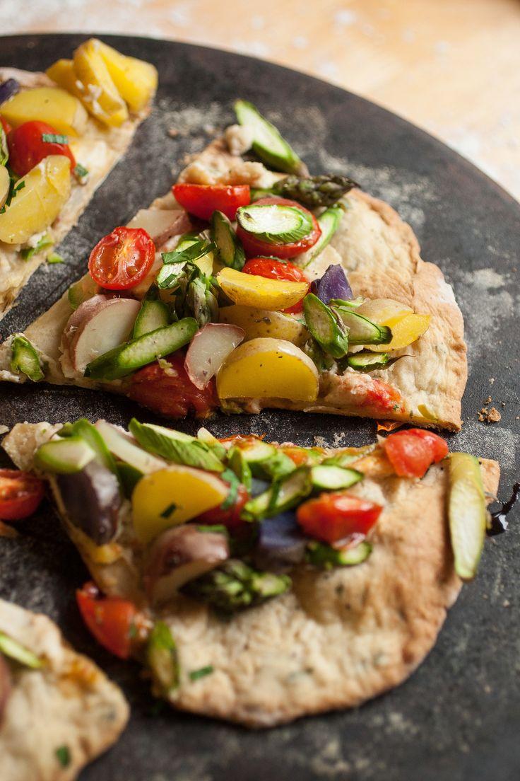 Flatbread Pizza with Asparagus, Baby Potatoes, Vegan Chevre