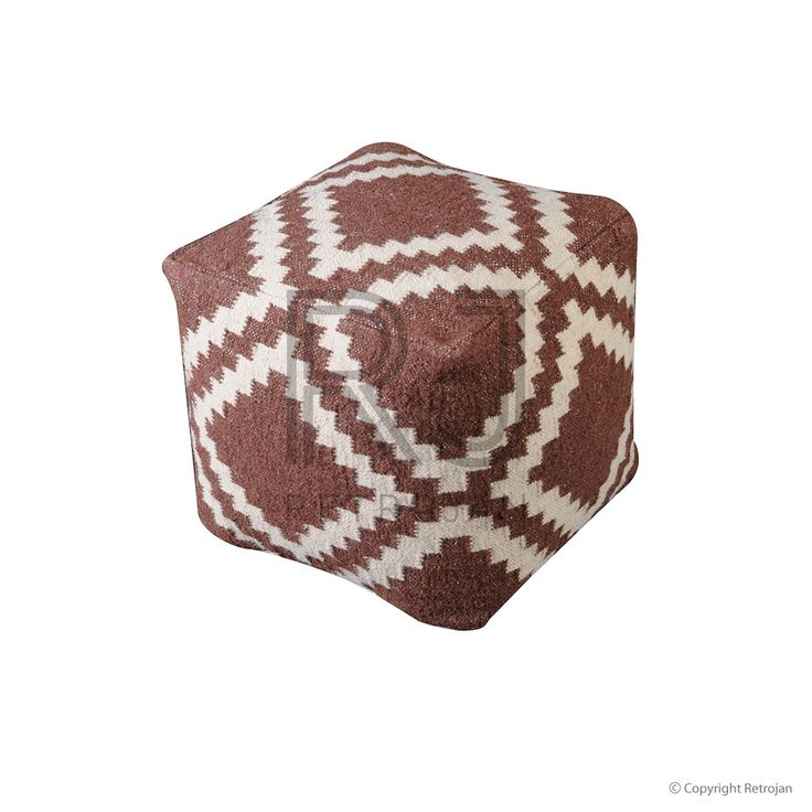 Regal Woollen Pouf - Taupe / Ivory  | $149.00