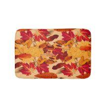 Red Yellow Brown Orange Autumn Foliage Bath Mat
