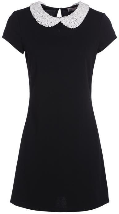Robe unie col claudine dentelle Noir Elasthanne - Femme Taille 36 - Cache Cache Noir Cache Cache