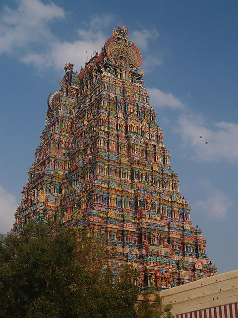 Meenakshi Sundareswarar Temple or Meenakshi Amman Temple or Tiru-alavai[1][2] (IAST mīnākṣi Amman Kovil) is a historic Hindu temple located in the south side of river Vaigai[3] in the temple city[4] of Madurai, Tamil Nadu, India. It is dedicated to Parvati who is known as Meenakshi and her consort, Shiva, named here as Sundareswarar (beautiful deity). The temple forms the heart and lifeline of the 2500 year old city[5] of Madurai