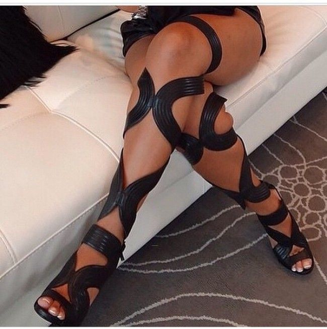 gladiators, shoes, strapped heels, black, thigh-high boots, heels, strappy heels