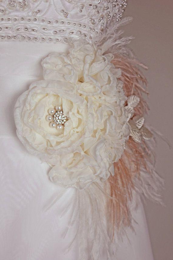 Statement Bridal Belt Wedding Dress Sash Ivory and by MakeBelieveN, $215.00