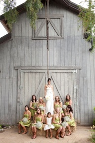 barn wedding - I like the color of the bridesmaid dresses