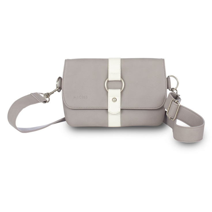 Aimee (Cintura Bag) - Here's a chic take on belt storage! Miche's Cintura Bag is so versatile, you can wear it cross-body style or around the waist for the ultimate in hands-free convenience! The Aimee Cintura Bag offers just the right amount of storage space for an afternoon at the park or that special outdoor concert. Soft textured faux leather in dove grey is offset by a chic white strap detail.
