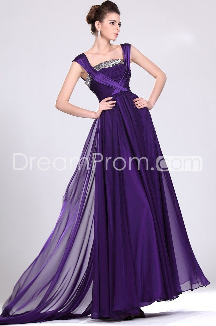 Graceful A-Line Square Floor-Length Wateau Train Evening/Prom Dresses